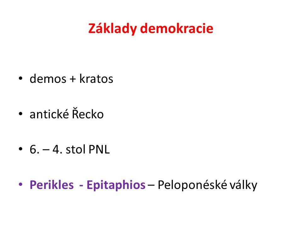 Základy demokracie demos + kratos antické Řecko 6. – 4. stol PNL Perikles - Epitaphios – Peloponéské války