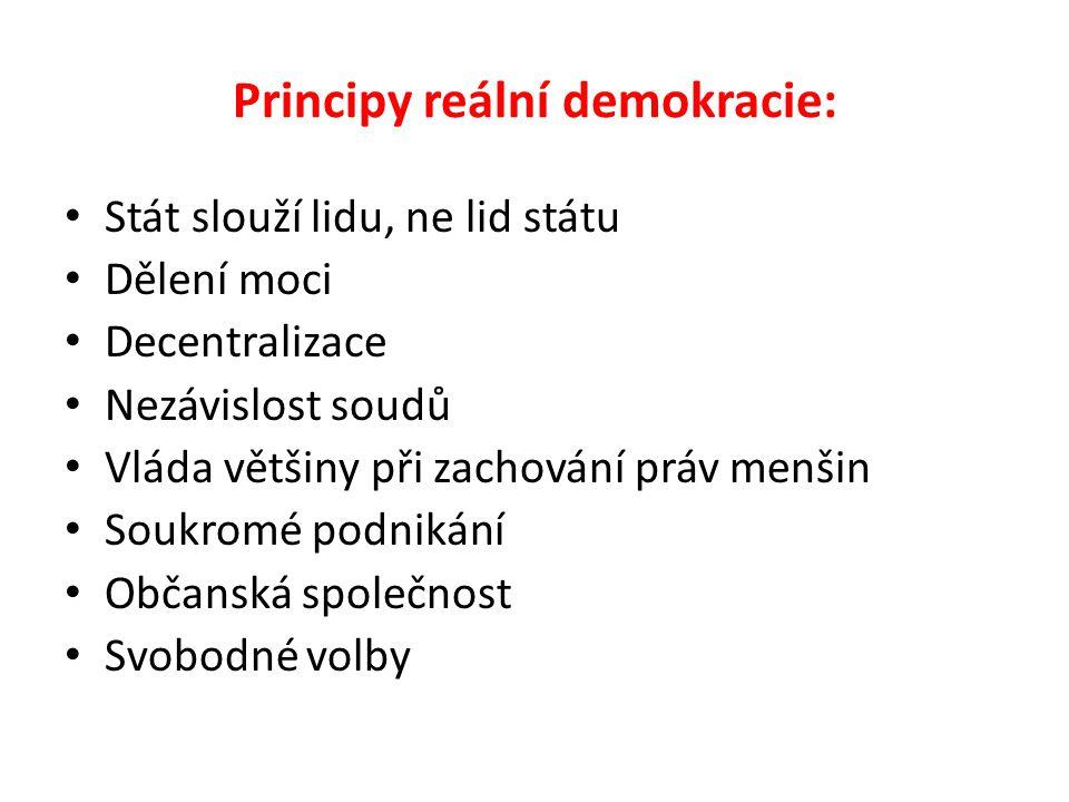 Principy reální demokracie: Stát slouží lidu, ne lid státu Dělení moci Decentralizace Nezávislost soudů Vláda většiny při zachování práv menšin Soukro