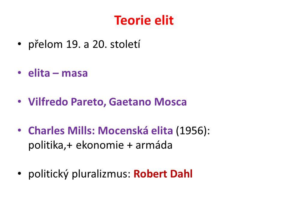 Teorie elit přelom 19. a 20. století elita – masa Vilfredo Pareto, Gaetano Mosca Charles Mills: Mocenská elita (1956): politika,+ ekonomie + armáda po