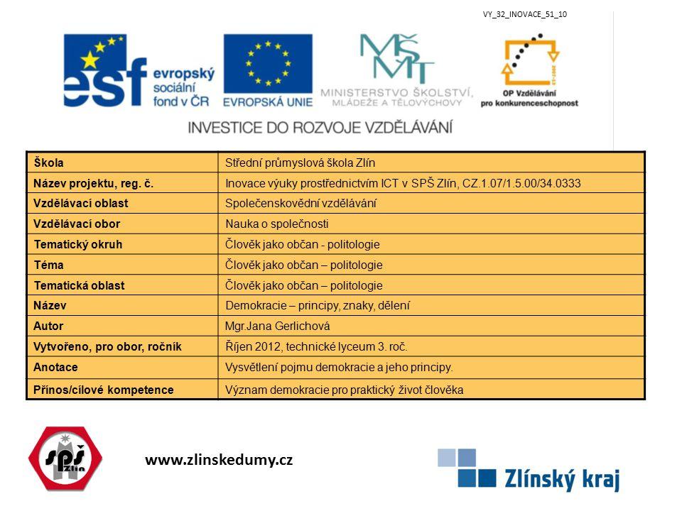 www.zlinskedumy.cz VY_32_INOVACE_51_10 ŠkolaStřední průmyslová škola Zlín Název projektu, reg. č.Inovace výuky prostřednictvím ICT v SPŠ Zlín, CZ.1.07