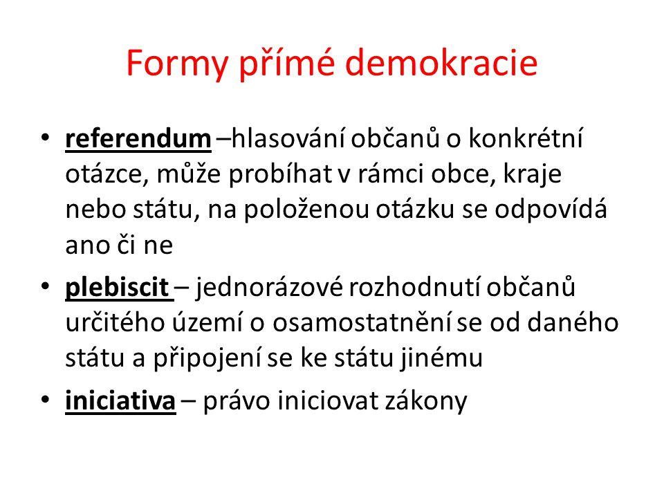 Formy přímé demokracie referendum –hlasování občanů o konkrétní otázce, může probíhat v rámci obce, kraje nebo státu, na položenou otázku se odpovídá