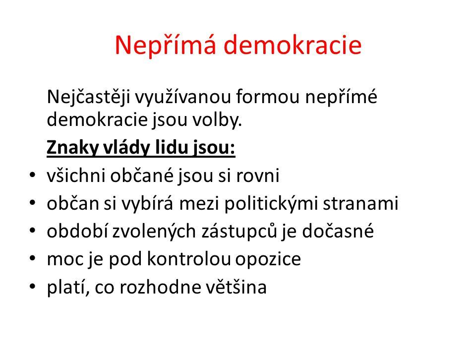 Nepřímá demokracie Nejčastěji využívanou formou nepřímé demokracie jsou volby. Znaky vlády lidu jsou: všichni občané jsou si rovni občan si vybírá mez