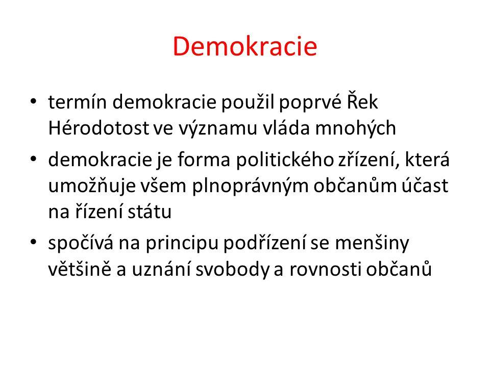 Demokracie termín demokracie použil poprvé Řek Hérodotost ve významu vláda mnohých demokracie je forma politického zřízení, která umožňuje všem plnopr