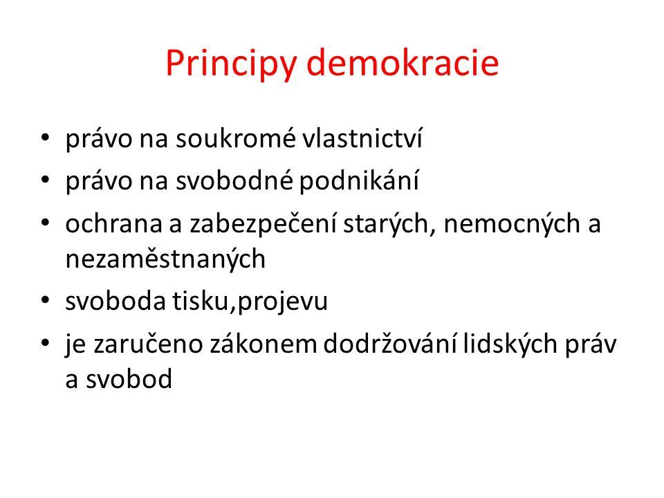 Principy demokracie právo na soukromé vlastnictví právo na svobodné podnikání ochrana a zabezpečení starých, nemocných a nezaměstnaných svoboda tisku,