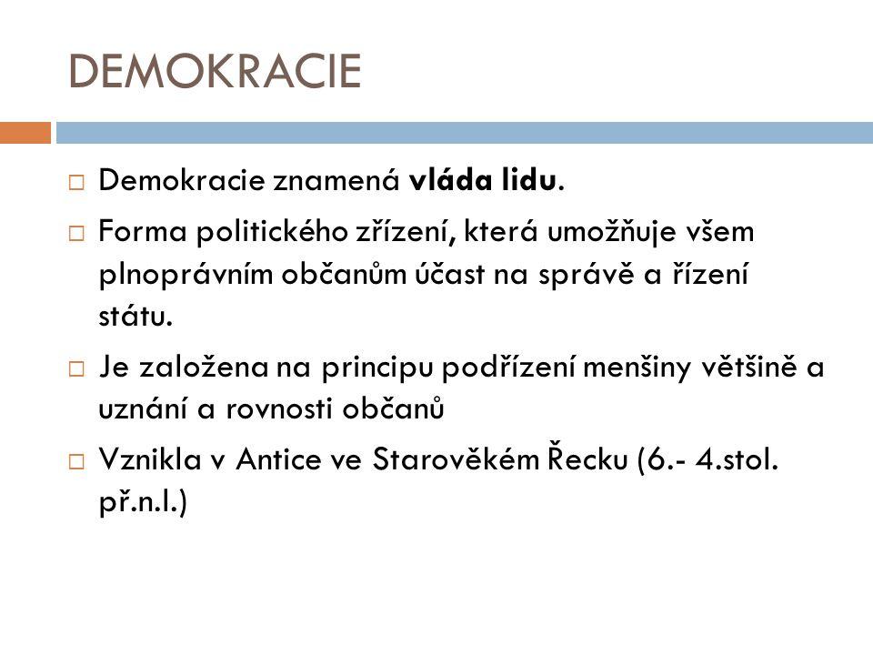  Demokracie znamená vláda lidu.  Forma politického zřízení, která umožňuje všem plnoprávním občanům účast na správě a řízení státu.  Je založena na