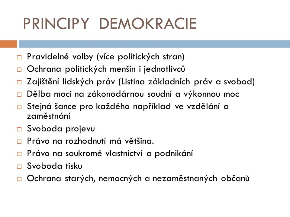  Pravidelné volby (více politických stran)  Ochrana politických menšin i jednotlivců  Zajištění lidských práv (Listina základních práv a svobod) 