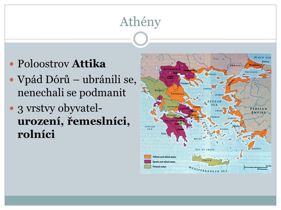 Athény Poloostrov Attika Vpád Dórů – ubránili se, nenechali se podmanit 3 vrstvy obyvatel- urození, řemeslníci, rolníci