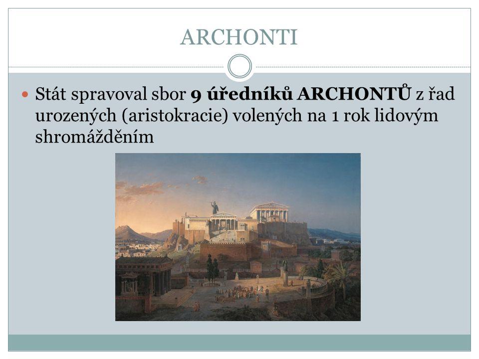 ARCHONTI Stát spravoval sbor 9 úředníků ARCHONTŮ z řad urozených (aristokracie) volených na 1 rok lidovým shromážděním
