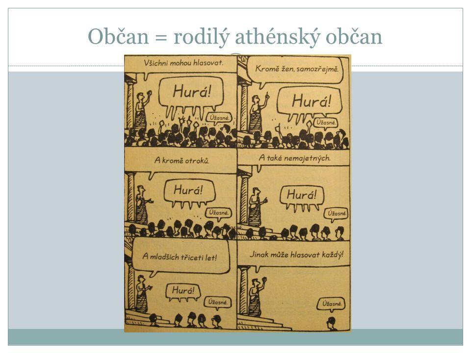 Občan = rodilý athénský občan