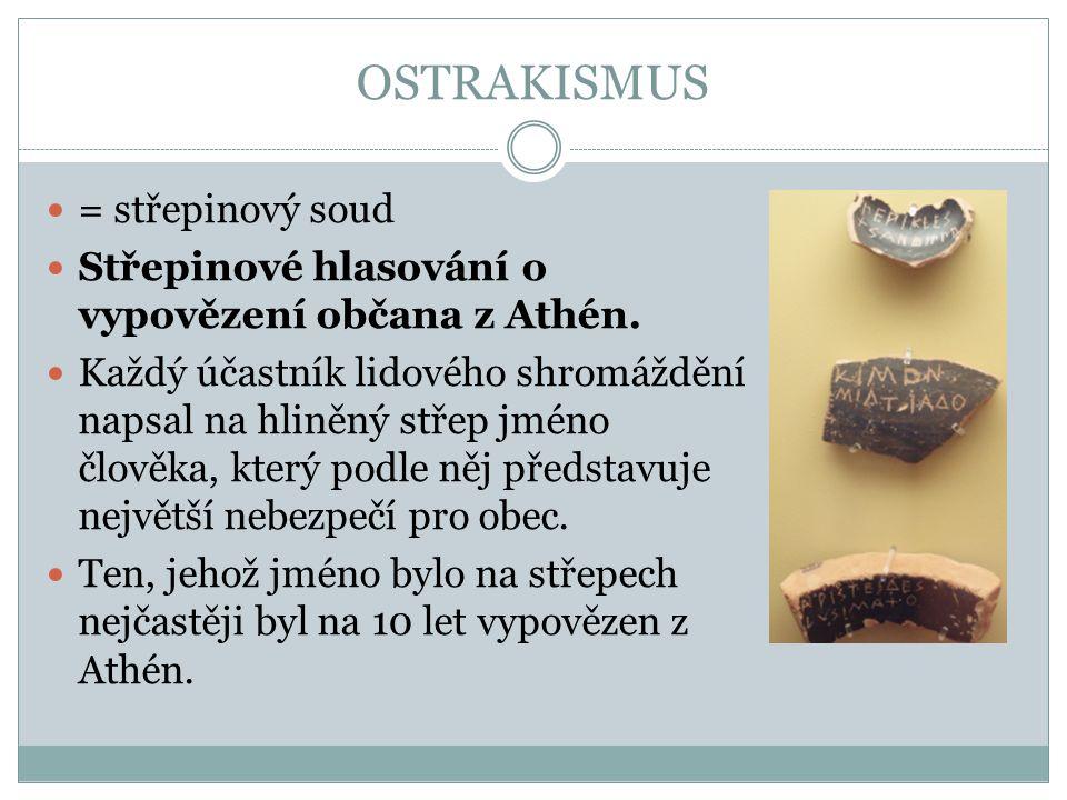 OSTRAKISMUS = střepinový soud Střepinové hlasování o vypovězení občana z Athén. Každý účastník lidového shromáždění napsal na hliněný střep jméno člov