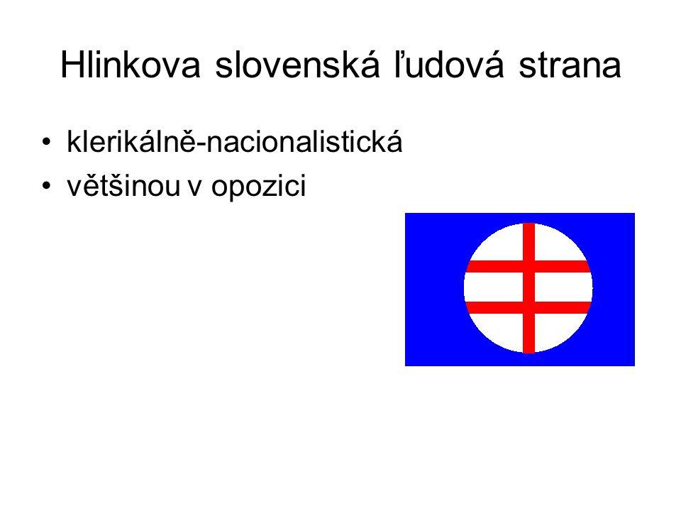 Hlinkova slovenská ľudová strana klerikálně-nacionalistická většinou v opozici
