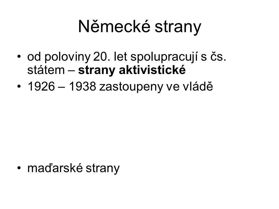 Německé strany od poloviny 20. let spolupracují s čs. státem – strany aktivistické 1926 – 1938 zastoupeny ve vládě maďarské strany
