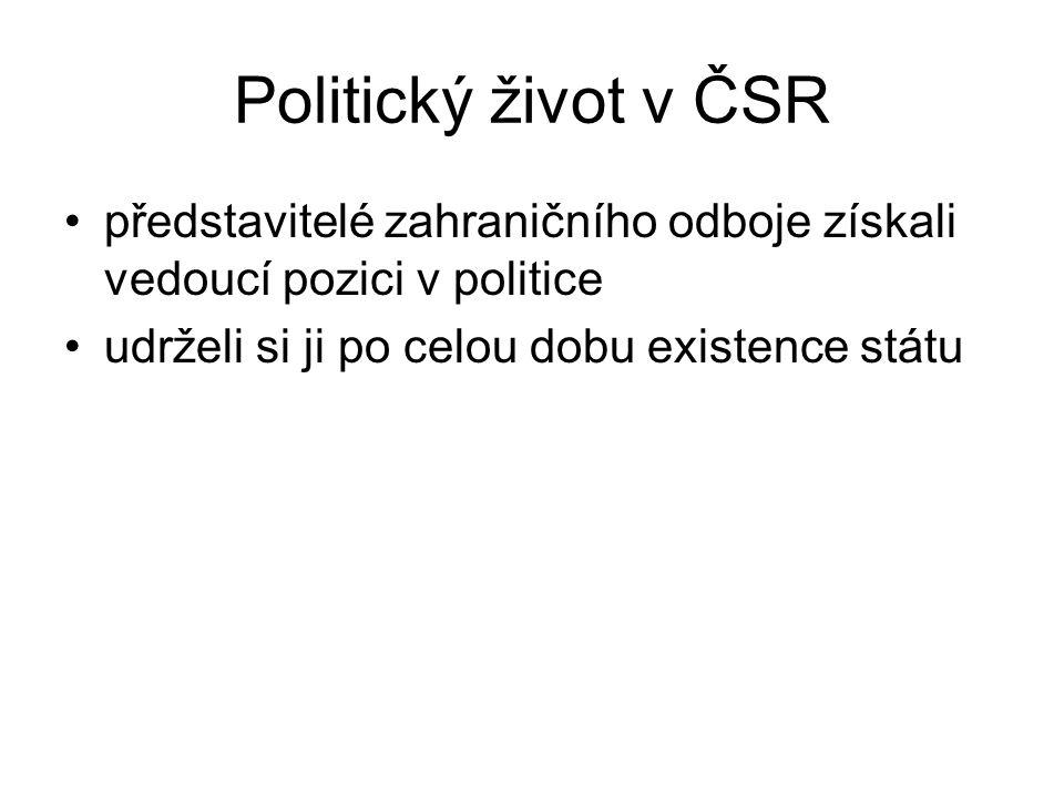 Politický život v ČSR představitelé zahraničního odboje získali vedoucí pozici v politice udrželi si ji po celou dobu existence státu