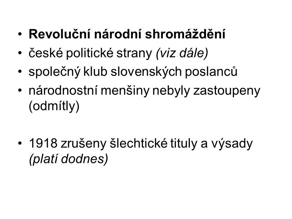 Revoluční národní shromáždění české politické strany (viz dále) společný klub slovenských poslanců národnostní menšiny nebyly zastoupeny (odmítly) 191