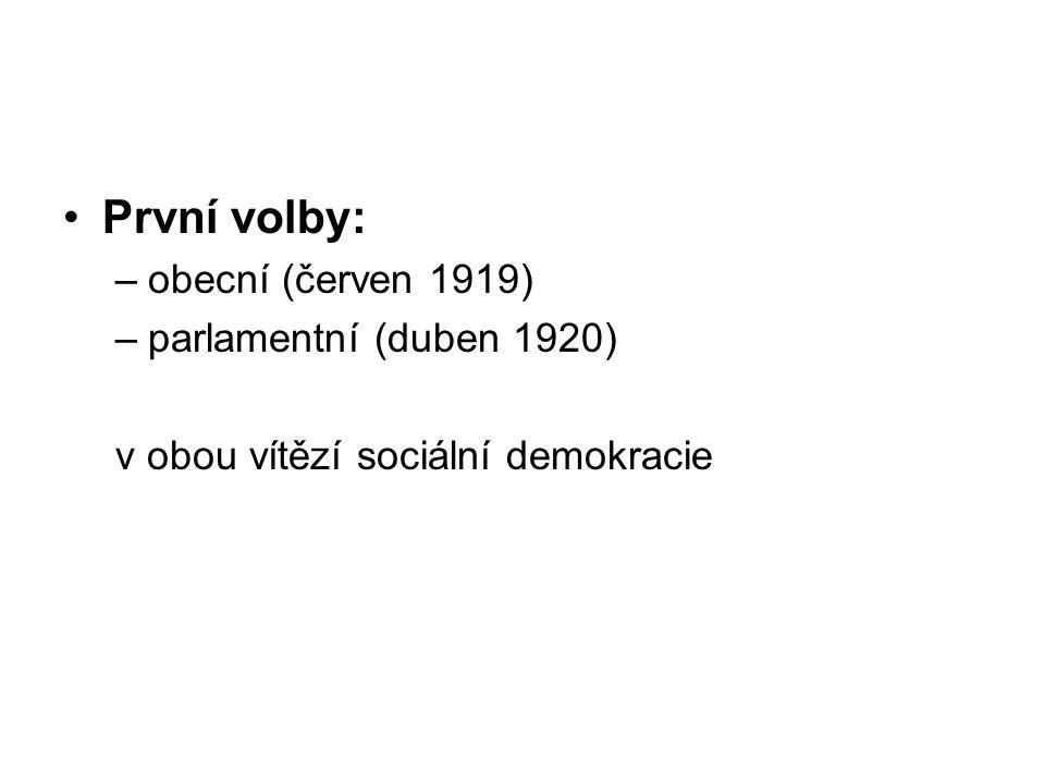 První volby: –obecní (červen 1919) –parlamentní (duben 1920) v obou vítězí sociální demokracie