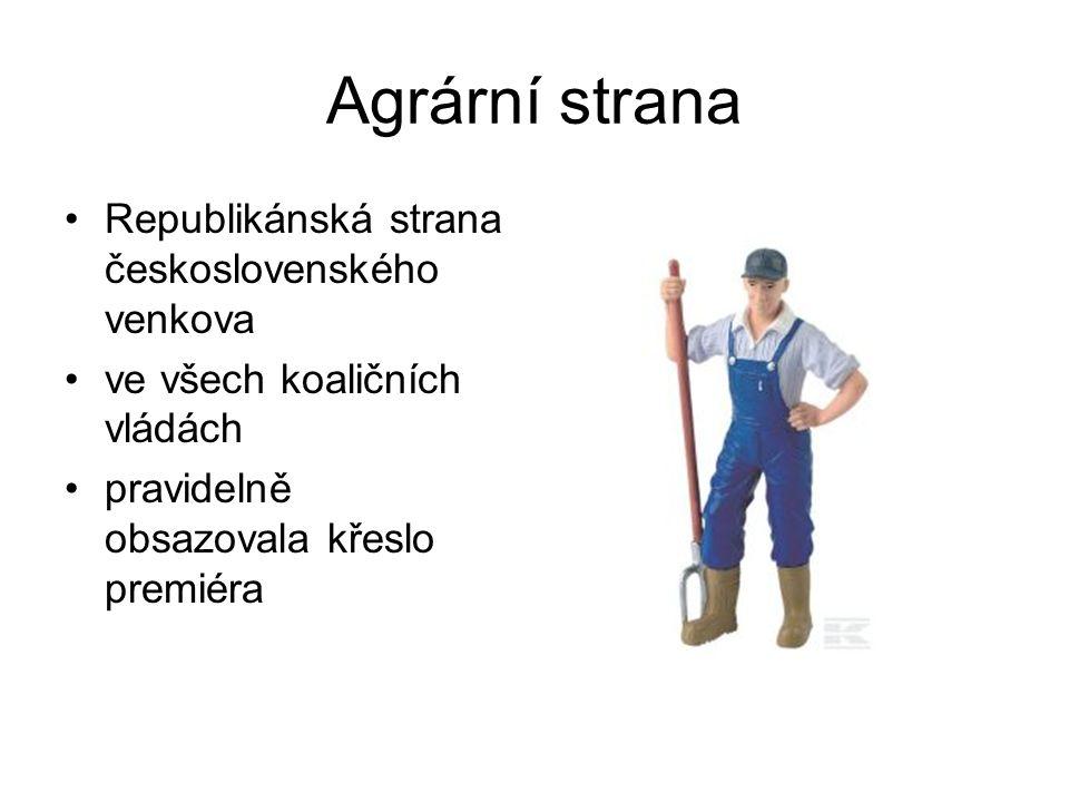 Agrární strana Republikánská strana československého venkova ve všech koaličních vládách pravidelně obsazovala křeslo premiéra