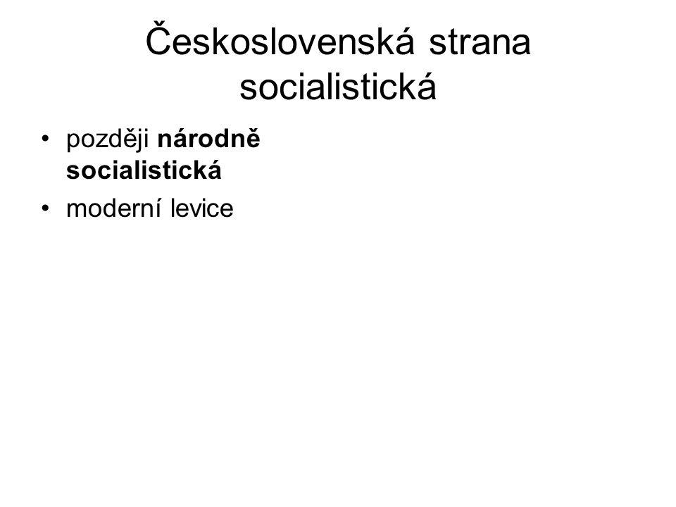 Československá strana socialistická později národně socialistická moderní levice