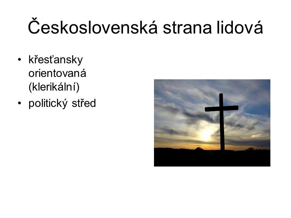 Československá strana lidová křesťansky orientovaná (klerikální) politický střed