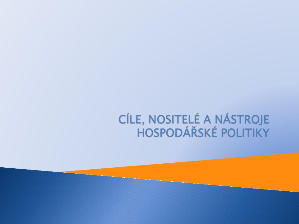 CÍLE, NOSITELÉ A NÁSTROJE HOSPODÁŘSKÉ POLITIKY