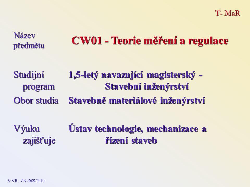 T- MaR Ročník výuky 1.