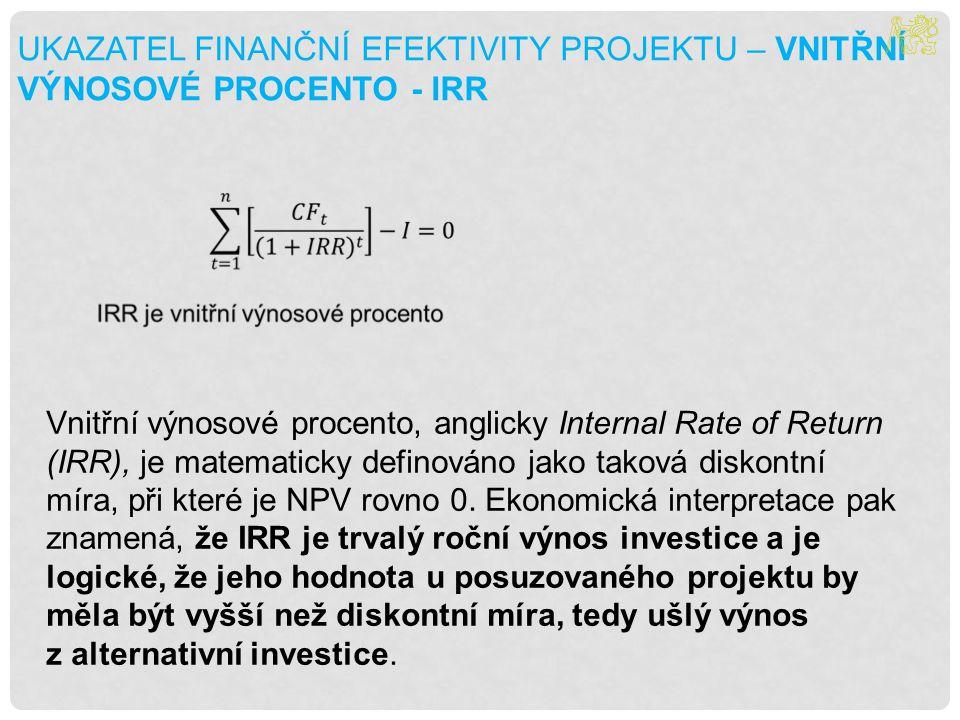 UKAZATEL FINANČNÍ EFEKTIVITY PROJEKTU – VNITŘNÍ VÝNOSOVÉ PROCENTO - IRR Vnitřní výnosové procento, anglicky Internal Rate of Return (IRR), je matemati