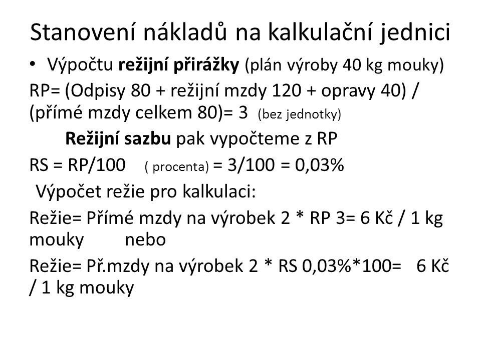 Stanovení nákladů na kalkulační jednici Výpočtu režijní přirážky (plán výroby 40 kg mouky) RP= (Odpisy 80 + režijní mzdy 120 + opravy 40) / (přímé mzd