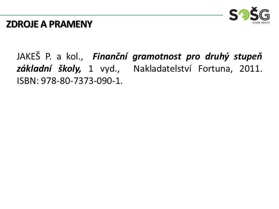ZDROJE A PRAMENY JAKEŠ P. a kol., Finanční gramotnost pro druhý stupeň základní školy, 1 vyd., Nakladatelství Fortuna, 2011. ISBN: 978-80-7373-090-1.