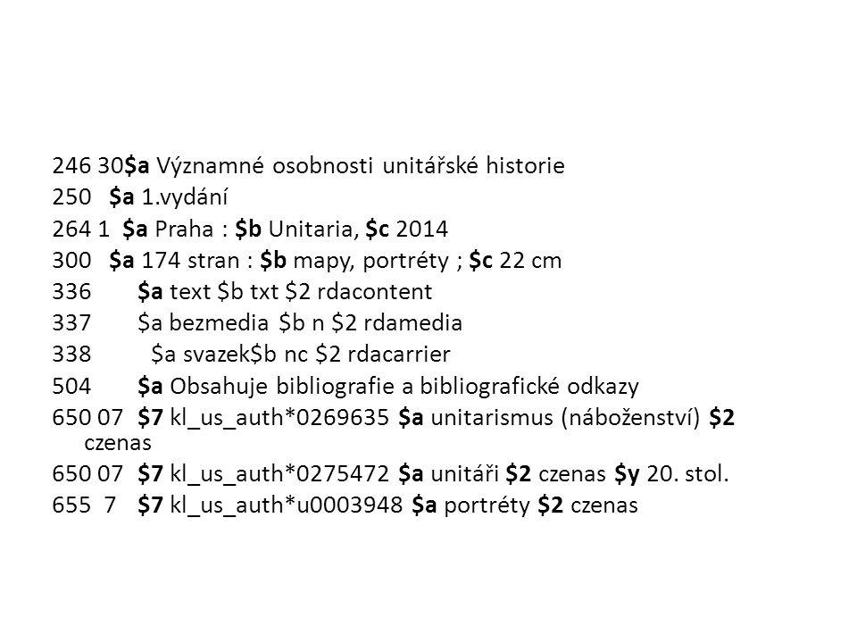 246 30$a Významné osobnosti unitářské historie 250 $a 1.vydání 264 1 $a Praha : $b Unitaria, $c 2014 300 $a 174 stran : $b mapy, portréty ; $c 22 cm 3