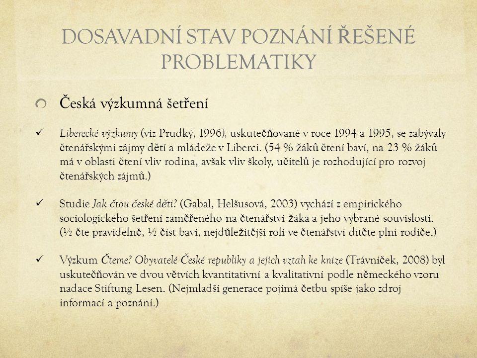 DOSAVADNÍ STAV POZNÁNÍ Ř EŠENÉ PROBLEMATIKY Č eská výzkumná šet ř ení Liberecké výzkumy (viz Prudký, 1996 ), uskute čň ované v roce 1994 a 1995, se za