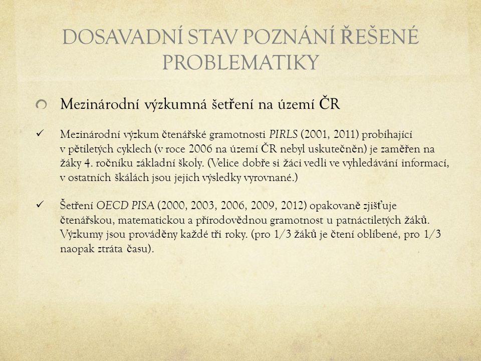 DOSAVADNÍ STAV POZNÁNÍ Ř EŠENÉ PROBLEMATIKY Mezinárodní výzkumná šet ř ení na území Č R Mezinárodní výzkum č tená ř ské gramotnosti PIRLS (2001, 2011)