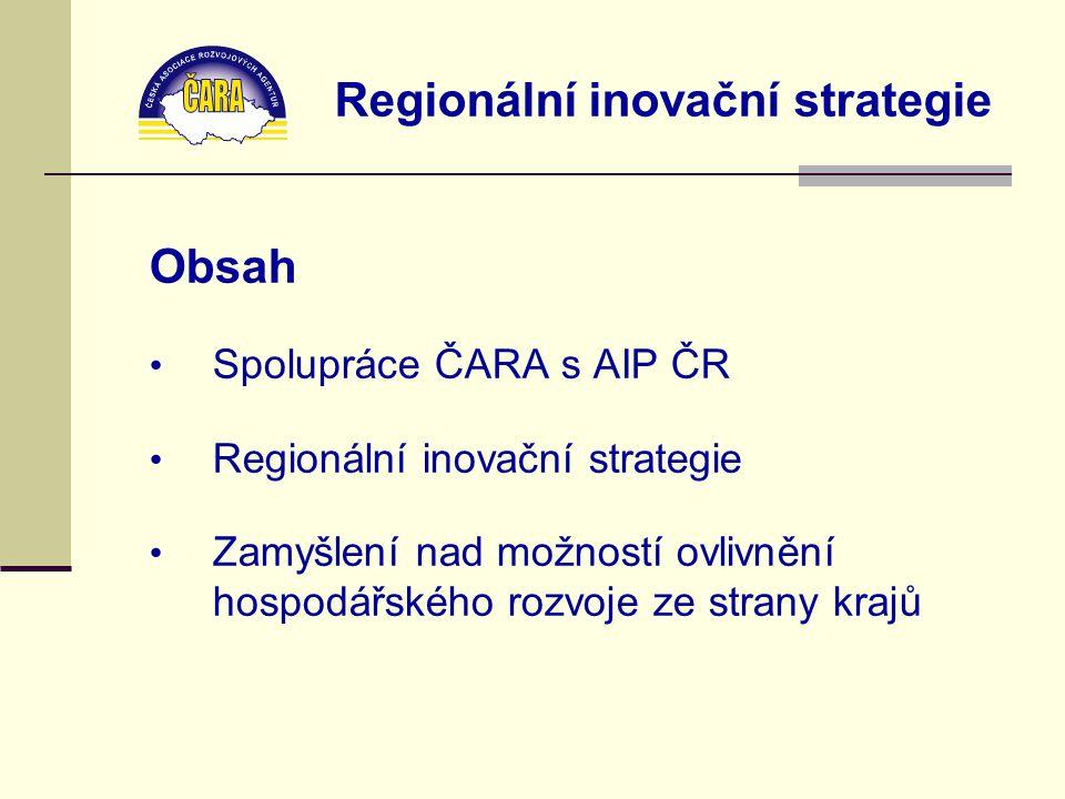 Regionální inovační strategie Obsah Spolupráce ČARA s AIP ČR Regionální inovační strategie Zamyšlení nad možností ovlivnění hospodářského rozvoje ze strany krajů