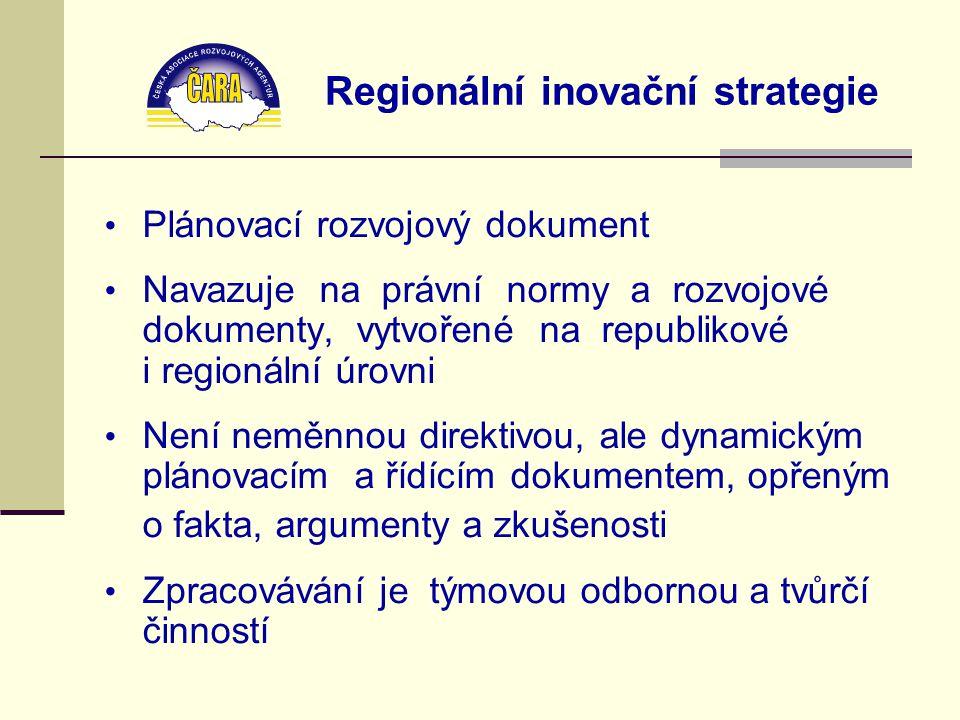 Regionální inovační strategie Plánovací rozvojový dokument Navazuje na právní normy a rozvojové dokumenty, vytvořené na republikové i regionální úrovni Není neměnnou direktivou, ale dynamickým plánovacím a řídícím dokumentem, opřeným o fakta, argumenty a zkušenosti Zpracovávání je týmovou odbornou a tvůrčí činností