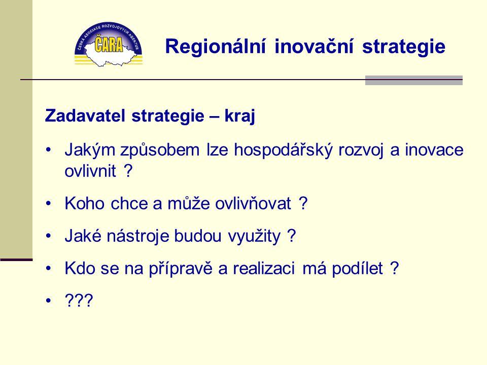 Regionální inovační strategie Zadavatel strategie – kraj Jakým způsobem lze hospodářský rozvoj a inovace ovlivnit ? Koho chce a může ovlivňovat ? Jaké