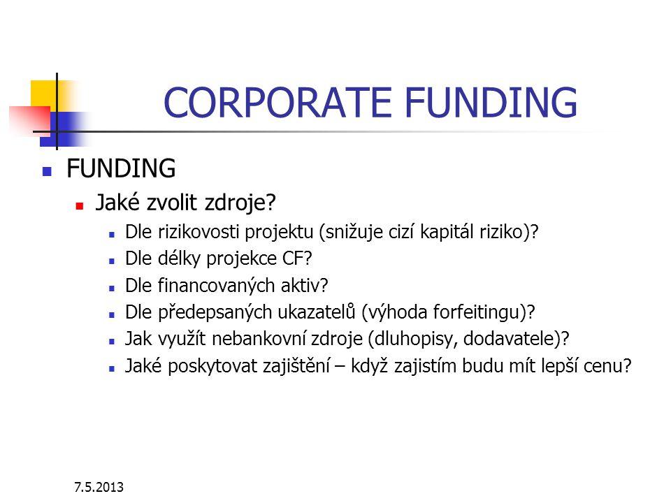 7.5.2013 CORPORATE FUNDING FUNDING Jaké zvolit zdroje.
