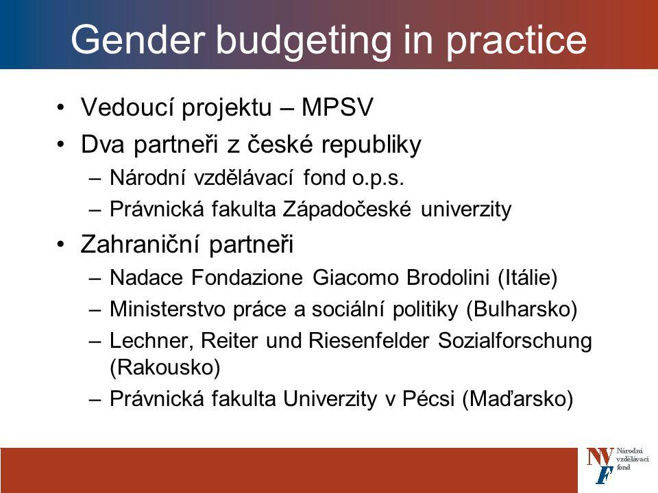 Gender budgeting in practice Vedoucí projektu – MPSV Dva partneři z české republiky –Národní vzdělávací fond o.p.s.