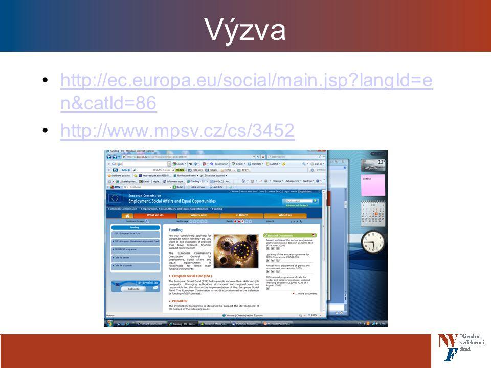 Výzva http://ec.europa.eu/social/main.jsp?langId=e n&catId=86http://ec.europa.eu/social/main.jsp?langId=e n&catId=86 http://www.mpsv.cz/cs/3452