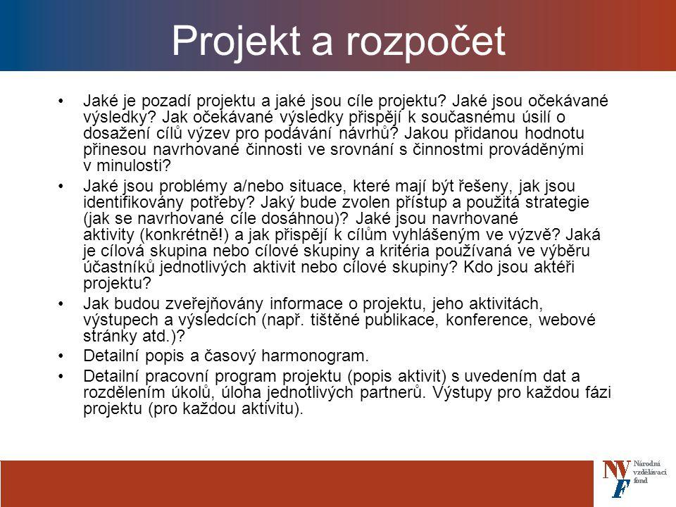Projekt a rozpočet Jaké je pozadí projektu a jaké jsou cíle projektu.
