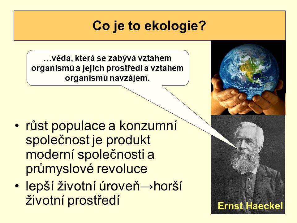 růst populace a konzumní společnost je produkt moderní společnosti a průmyslové revoluce lepší životní úroveň→horší životní prostředí Co je to ekologi