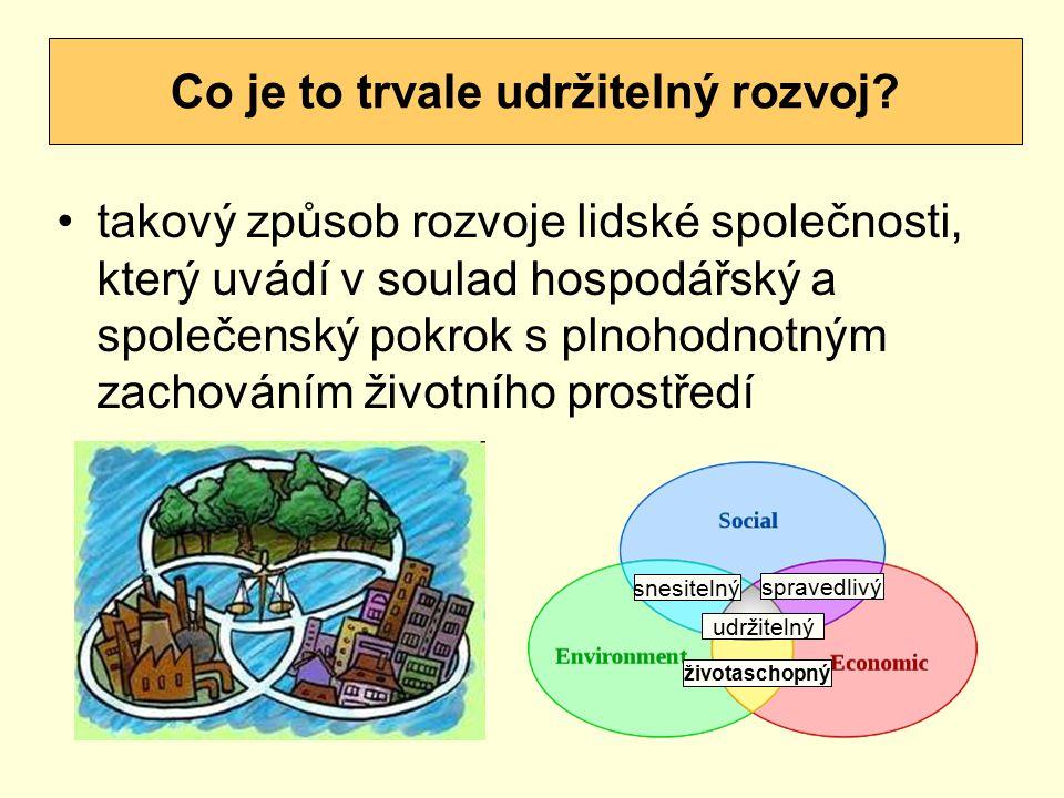takový způsob rozvoje lidské společnosti, který uvádí v soulad hospodářský a společenský pokrok s plnohodnotným zachováním životního prostředí Co je t