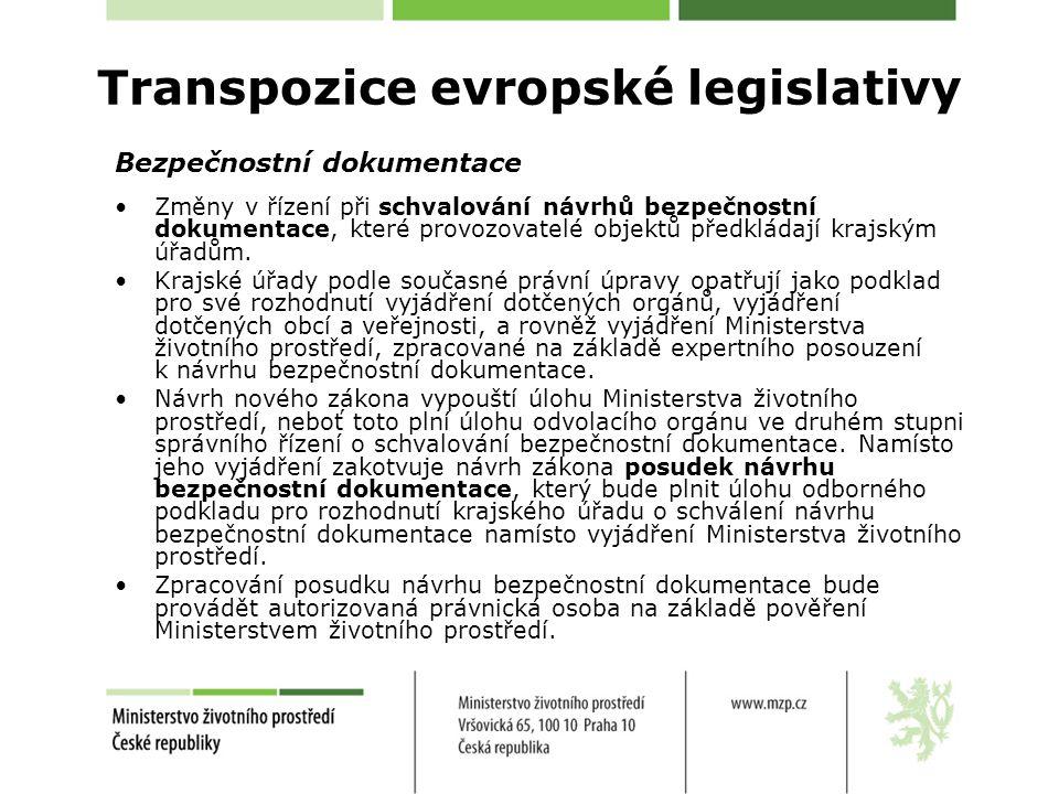 Bezpečnostní dokumentace Změny v řízení při schvalování návrhů bezpečnostní dokumentace, které provozovatelé objektů předkládají krajským úřadům. Kraj