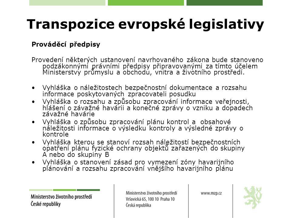 Prováděcí předpisy Provedení některých ustanovení navrhovaného zákona bude stanoveno podzákonnými právními předpisy připravovanými za tímto účelem Min