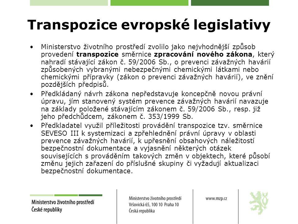 Ministerstvo životního prostředí zvolilo jako nejvhodnější způsob provedení transpozice směrnice zpracování nového zákona, který nahradí stávající zák