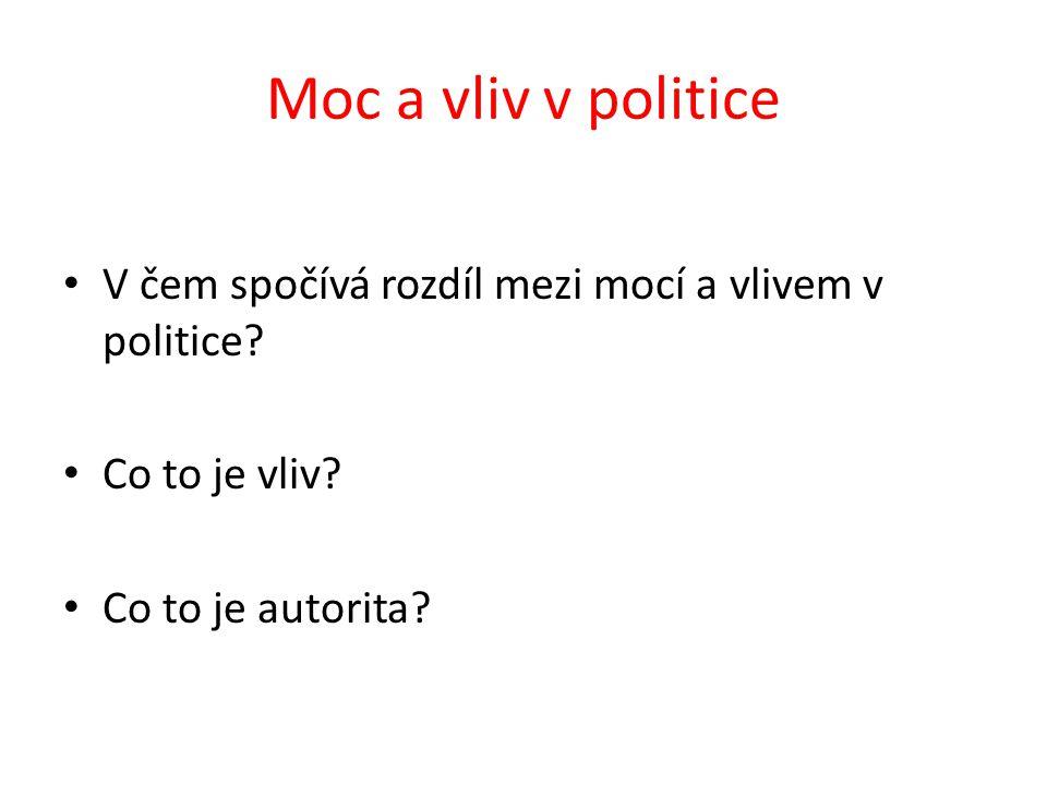 Moc a vliv v politice V čem spočívá rozdíl mezi mocí a vlivem v politice.