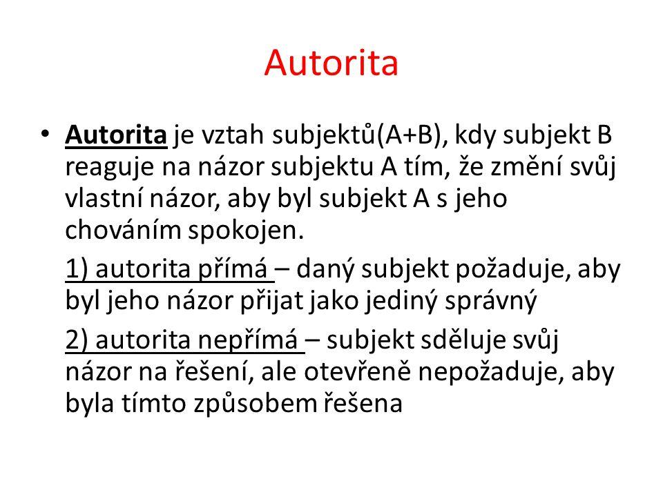 Autorita Autorita je vztah subjektů(A+B), kdy subjekt B reaguje na názor subjektu A tím, že změní svůj vlastní názor, aby byl subjekt A s jeho chováním spokojen.