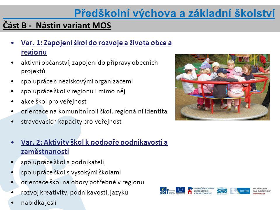 Var. 1: Zapojení škol do rozvoje a života obce a regionu aktivní občanství, zapojení do přípravy obecních projektů spolupráce s neziskovými organizace