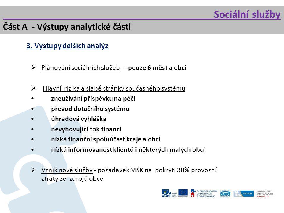 Sociální služby Část A - Výstupy analytické části 3. Výstupy dalších analýz  Plánování sociálních služeb - pouze 6 měst a obcí  Hlavní rizika a slab