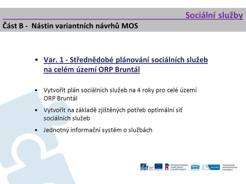 Sociální služby Část B - Nástin variantních návrhů MOS Var. 1 - Střednědobé plánování sociálních služeb na celém území ORP Bruntál Vytvořit plán sociá