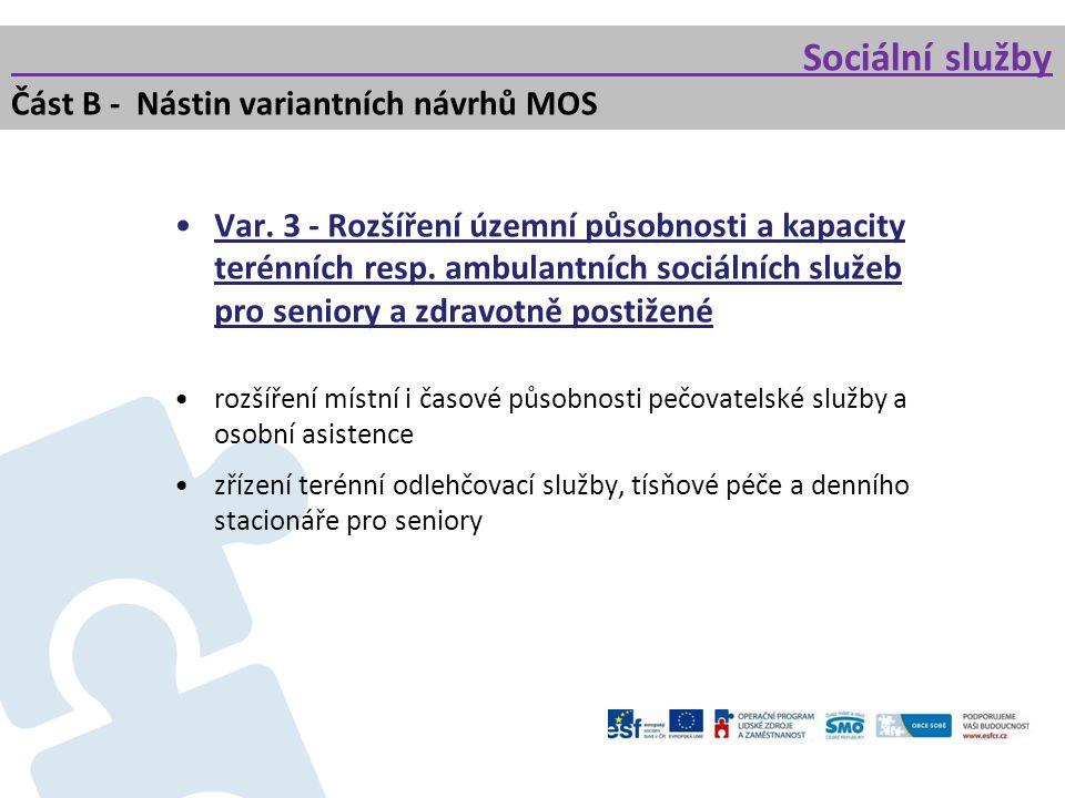 Var. 3 - Rozšíření územní působnosti a kapacity terénních resp. ambulantních sociálních služeb pro seniory a zdravotně postižené rozšíření místní i ča