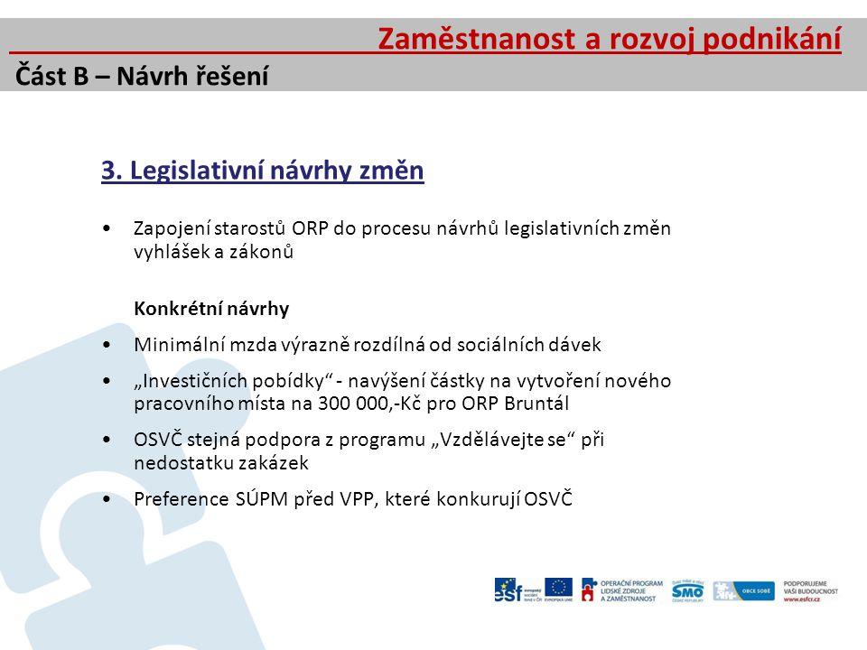 3. Legislativní návrhy změn Zapojení starostů ORP do procesu návrhů legislativních změn vyhlášek a zákonů Konkrétní návrhy Minimální mzda výrazně rozd
