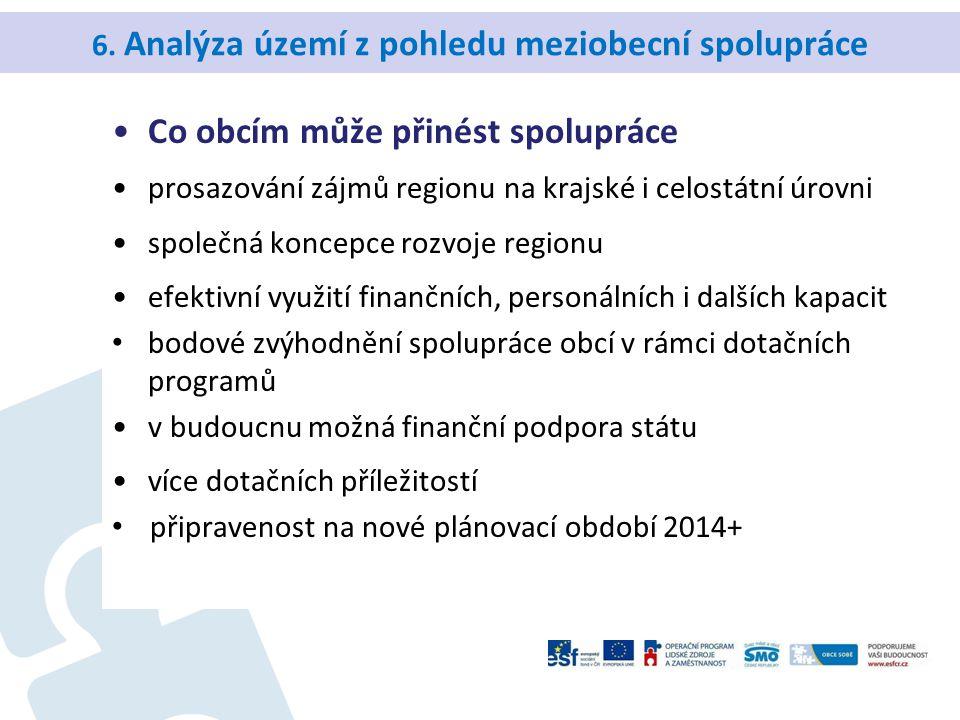 6. Analýza území z pohledu meziobecní spolupráce Co obcím může přinést spolupráce prosazování zájmů regionu na krajské i celostátní úrovni společná ko